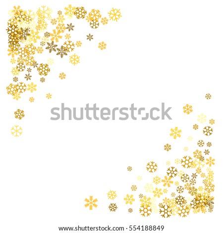 10c68711cab Triangle corner gold frame or border of scatter golden snowflakes on white  background. Design element