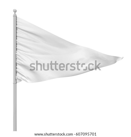 Triangle flag. 3d illustration isolated on white background