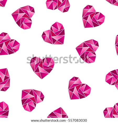 Triangle Heart Shape Symbol Isolated On White Background Seamless