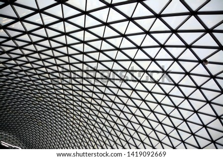 Triangle network. Abstract background. Black and white dome made of metal and glass. #1419092669