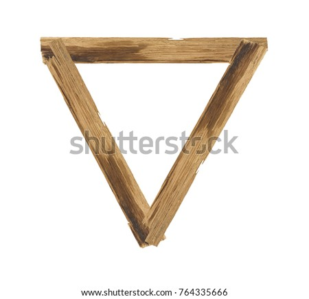 triangle picture frames made of plank wood isolated on white background