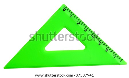 triangle plastic ruler isolated on white
