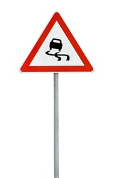 Triangle road sign slippery road