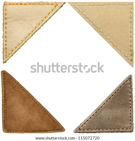 Triangle shape leather labels, corners.