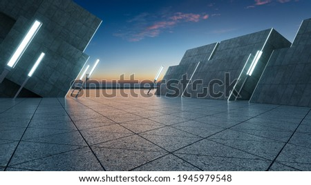 Triangle shape marble ground with thirty degree angle tilted contemporary building and lamp pole. 3d rendering
