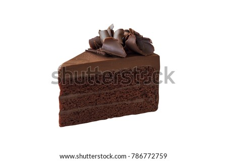 Triangle shape slices piece of dark chocolate fudge cake topping with chocolate curl on white isolated background with clipping paths. Homemade bakery concept for birthday cake or valentine dessert. Foto stock ©
