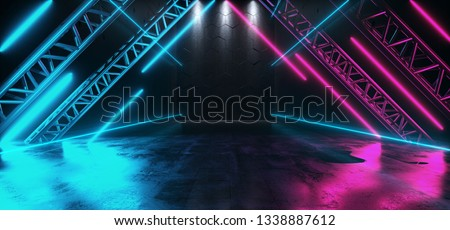 Triangle Shaped Neon Glowing Stage Metal Structure Studio Empty Space Dance Cyberpunk Retro Sci Fi Futuristic Grunge Concrete Reflections Purple Ultraviolet Blue Vibrant 3D Rendering Illustration