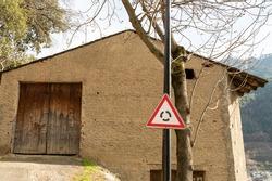 triangle sing roadsign entrance door wood antique