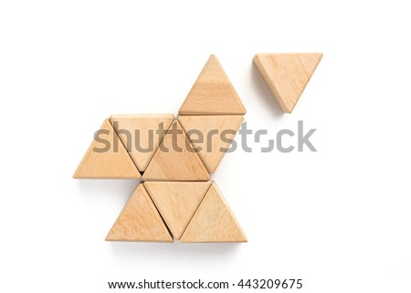 Triangle wood block arranging can use for business template or bullet or infographic.  #443209675