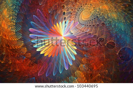 Triangled galactic rainbow - abstract pattern for backgrounds. Fractals. - stock photo