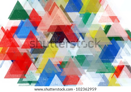 Triangles pattern illustration. Brush paint impressionist abstract background.