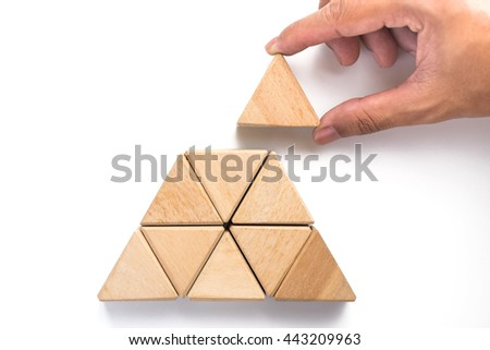 Triangles wood block arranging as stack step can use for business template or bullet or infographic.  #443209963