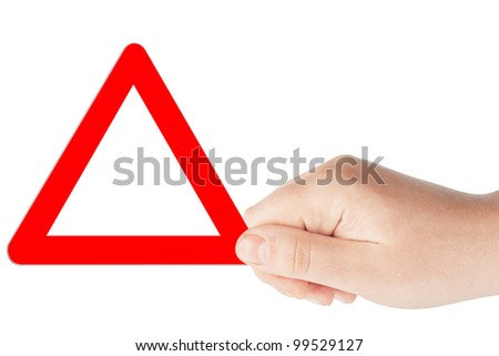 Triangular blank red road signs with hand on a white background