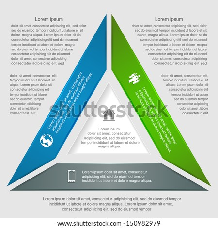Triangular infographic lines, options and icons, modern design, can be used for diagram, design of website, step up options, web template, illustration.