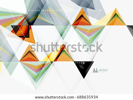 Triangular low poly a4 size geometric abstract template. Multicolored triangles on light background, futuristic techno or business design #688635934