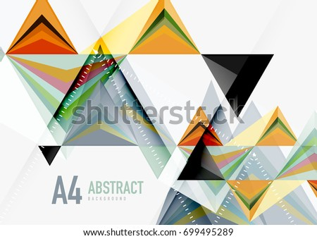 Triangular low poly a4 size geometric abstract template. Multicolored triangles on light background, futuristic techno or business design #699495289
