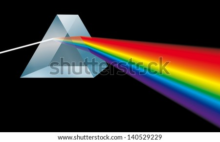 triangular prism breaks light into spectral colors - stock photo