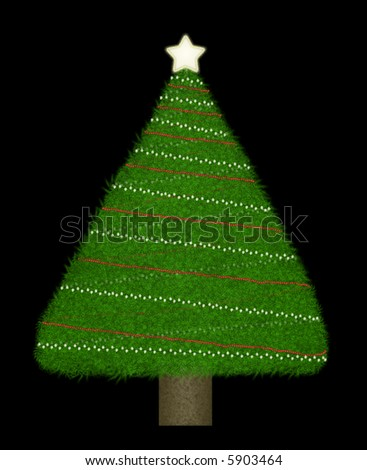 Triangular shaped Christmas tree of varying shades of green with a brown trunk.  Simple decorations of lights and red bead garland on a black background. #5903464