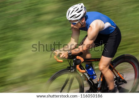 triathlete on a bicycle