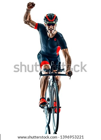 triathlete triathlon Cyclist cycling  in studio silhouette shadow  isolated  on white background Foto stock ©