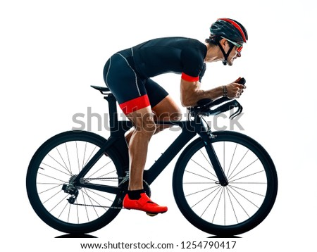 triathlete triathlon Cyclist cycling silhouette isolated white b