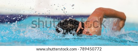 Triathlon fitness athlete training swimming in wave pool at gym health centre. Swimmer man swmming in blue water banner panorama. Sport and fitness cardio exercise. #789450772