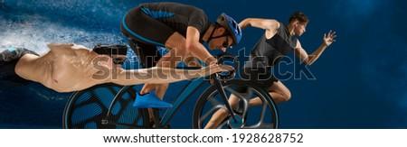 Triathlon sport collage. Man running, swimming, biking for competition race Foto stock ©