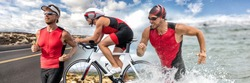 Triathlon swim bike run triathlete man running biking swimming in ocean at ironman race banner panorama. Three pictures composite of fitness athlete professional cyclist, runner, swimmer athletes.