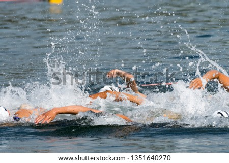 Triathlon tournament swim at sea #1351640270