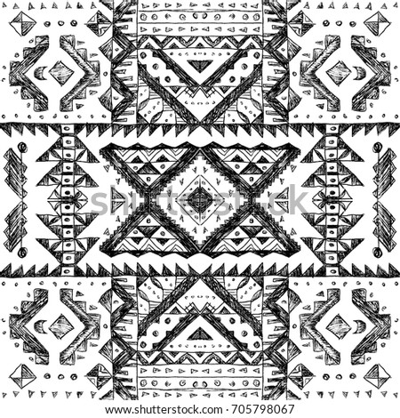 tribal abstract hand-drawn seamless pattern