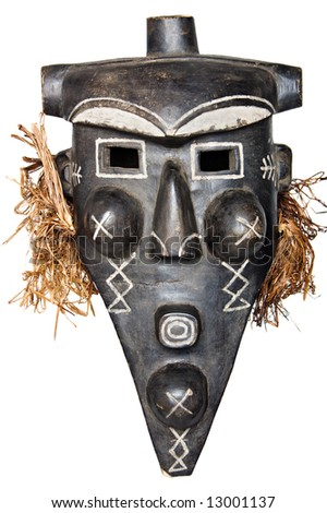 Tribal African mask used in traditional ceremonies. - stock photo