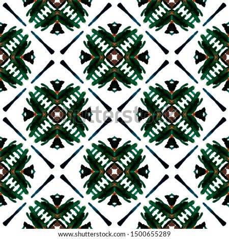 Tribal Art. Endless Repeat Painting.  American Navajo, Cherokee Ornament. Chevron Geometric. Geo Embroidery. Green, Lime, Mint Watercolor. Graphic Art.