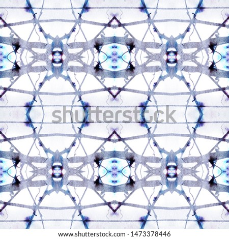 Tribal Boho Pattern. Abstract Batik Motif. Blue and White Seamless Texture. Repeat Tie Dye Ornament. Ikat Islamic Motif. Ethnic Tribal Boho Pattern.