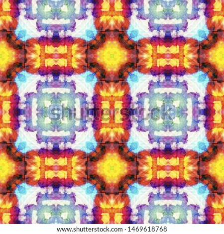 Tribal Boho Pattern. Orange Seamless Texture. Repeat Tie Dye Rapport. Ethnic Turkish Print. Abstract Shibori Print. Ikat Tribal Boho Pattern.
