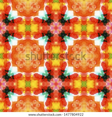 Tribal Boho Pattern. Orange Seamless Texture. Seamless Tie Dye Illustration. Ethnic African Motif. Abstract Kaleidoscope Motif. Ikat Tribal Boho Pattern.
