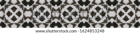 Tribal Boho Pattern. Repeat Tie Dye Illustration. Ikat Indonesian Design. Abstract Kaleidoscope Motif. Black, White, Gray, Silver Seamless Texture. Ethnic Tribal Boho Pattern.
