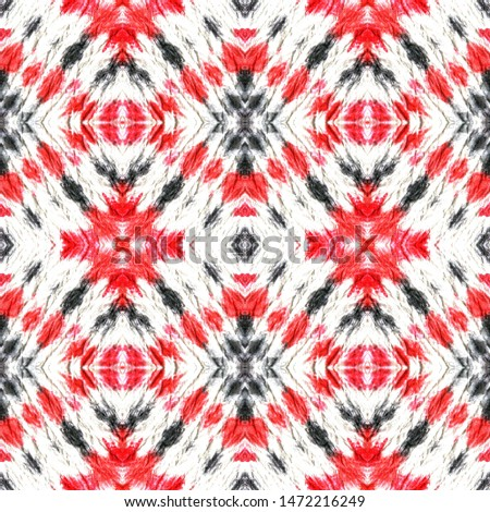Tribal Boho Pattern. Repeat Tie Dye Rapport. Ikat Russia Design. Red, Black, White Seamless Texture. Abstract Kaleidoscope Design. Ethnic Tribal Boho Pattern.