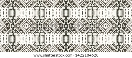Tribal Boho Pattern. Seamless Tie Dye Ornament. Ikat Turkish Motif. Abstract Batik Print. Black and Whitee Seamless Texture. Ethnic Tribal Boho Pattern.