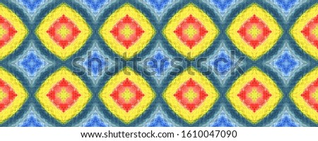 Tribal Boho Pattern. Yellow, Red, Green Seamless Texture. Repeat Tie Dye Rapport. Ikat Indonesian Motif. Abstract Batik Motif. Ethnic Tribal Boho Pattern.