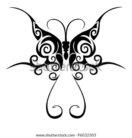 Tribal butterfly tattoo - stock photo
