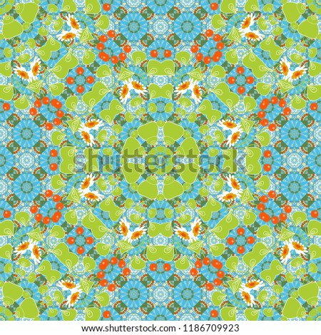 Stock Photo Tribal ethnic arabic, indian, turkish patern ornament. Traditional oriental background in orange, green and blue colors. Seamless pattern with the pre-existing geometry in the drawing.