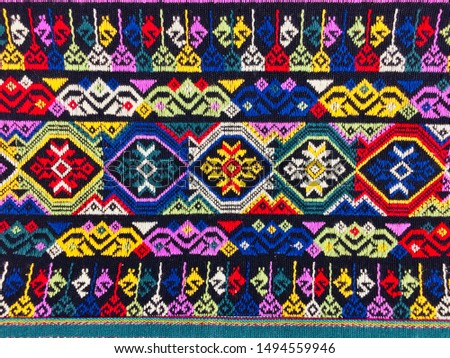 Tribal pattern fabric. Hill tribe native fabric pattern. Hand-made pattern of the local hill tribe people. Local fabric pattern of hill tribes in northern Thailand.