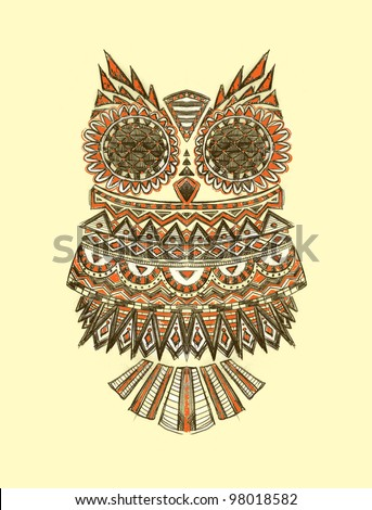 Tribal Pattern Owl Hand Drawn