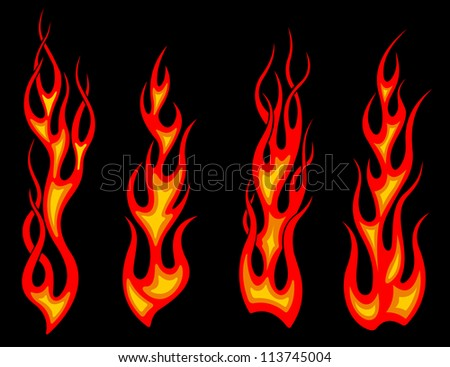 Tribal tattoo flames set for fantasy design. Vector version also available in gallery