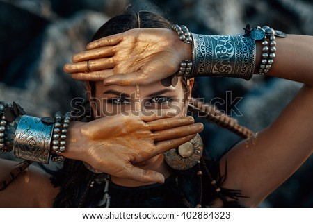 Stock Photo tribal woman portrait outdoors
