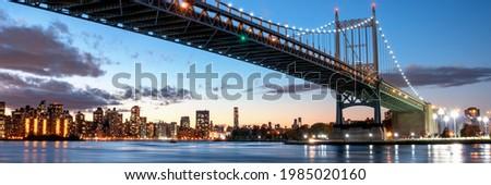 Triborough Bridge or Robert F. Kennedy Bridge, at night, in Astoria, Queens, New York. USA. Panoramic view Stock fotó ©