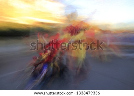 Tribute to Ernst Hass, Tribute to Monet, impressionist photograph of the people disguised in a carnival parade of Toledo, Spain, at low speed, photographic sweep , sensations of rhythm and movement,