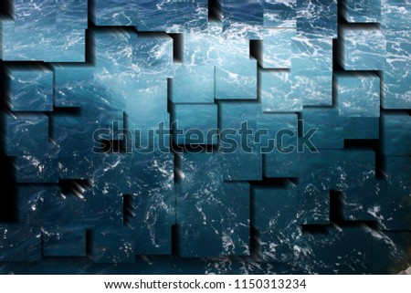 tribute to Picasso, cubist photograph of the transparent blue waters with foam, sea, atlantic ocean, series of photographs with cubist effects,artistic photography, contemporary art, #1150313234