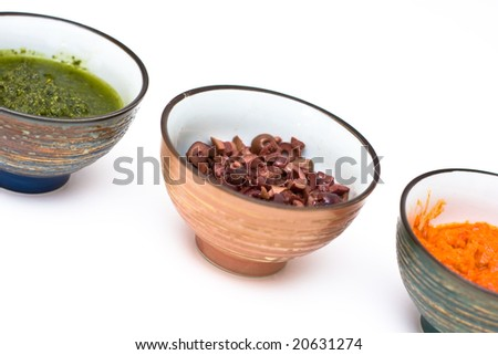 Tricolor Bowls of Sauces