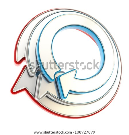 Tricolor circular round copyspace emblem icon made of three red and blue glossy arrows isolated on white